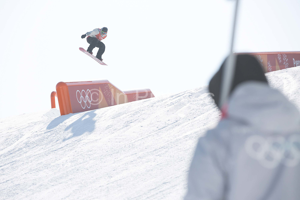 Mons Roisland, Norway, during the snowboard slopestyle practice on the 8th February 2018 at Phoenix Snow Park for the Pyeongchang 2018 Winter Olympics in South Korea