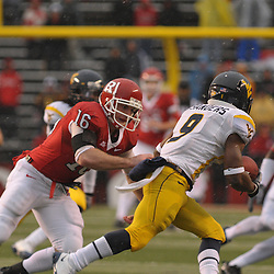 Dec 5, 2009; Piscataway, NJ, USA; Rutgers wide receiver Andrew Depaola (16) chases down West Virginia wide receiver Jock Sanders (9) during second half NCAA Big East college football action in West Virginia's 24-21 victory over Rutgers at Rutgers Stadium.