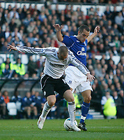 Photo: Steve Bond.<br />Derby County v Everton. The FA Barclays Premiership. 28/10/2007. Kenny Miller (L) manages to shield the ball from Leon Osman (R)