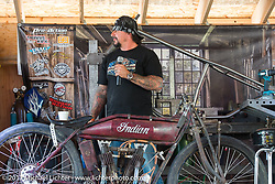 Billy Lane on the Grease and Gears stage during the Cycle Source bike show at the Broken Spoke at the Iron Horse Saloon during the annual Sturgis Black Hills Motorcycle Rally.  SD, USA. Thursday August 10, 2017.  Photography ©2017 Michael Lichter.