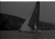 Round Ireland Yacht Race.  (R81)..1988..18.06.1988..06.18.1988..18th June 1988..The Round Ireland Yacht Race set sail from Wicklow today. Yachts from all over Europe took part in the start as the race got underway. The race is sponsored by Cork Dry Gin...Whyte and Mackay Drum K3797 is pictured out ahead of the rest of the yachts as the race gets underway from Wicklow.