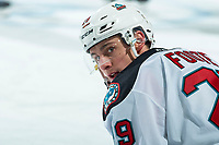KELOWNA, BC - FEBRUARY 17: Nolan Foote #29 of the Kelowna Rockets stretches on the ice during warm up against the Calgary Hitmen at Prospera Place on February 17, 2020 in Kelowna, Canada. (Photo by Marissa Baecker/Shoot the Breeze)