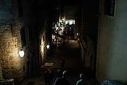 Elevated street scene at night, Dubrovnik old town, Croatia