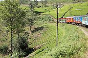 Train journey through countryside near Nuwara Eliya,, Sri Lanka, Asia