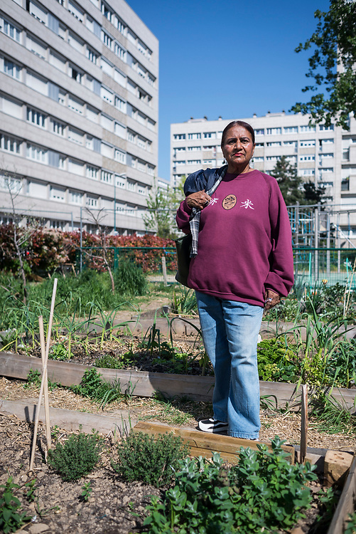Lynn, one of the members of the Agrocité, in her new plot, Gennevilliers, France, April 2019.