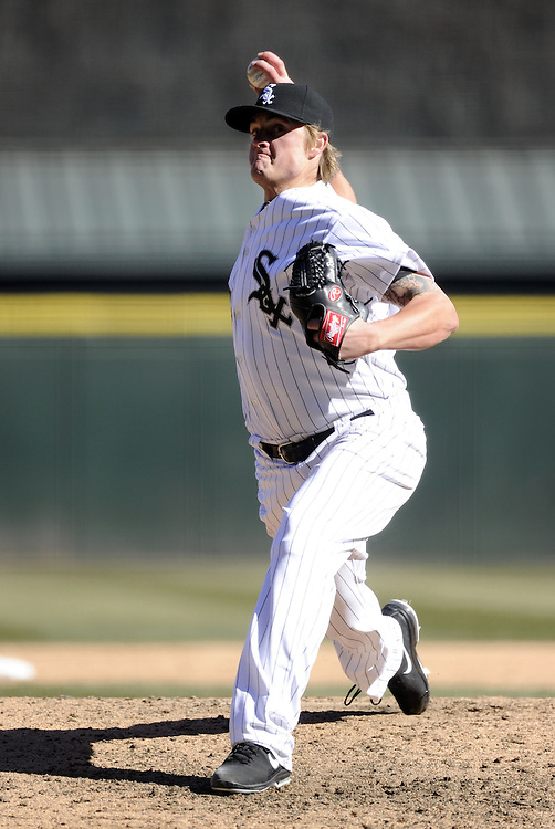 CHICAGO - APRIL 03:  Addison Reed #43 the Chicago White Sox pitches against the Kansas City Royals on April 3, 2013 at U.S. Cellular Field in Chicago, Illinois.  The White Sox defeated the Royals 5-2.  Ramirez was charged with an error on the play.(Photo by Ron Vesely)   Subject: Addison Reed