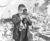 British photographer terry Fincher seen on assignment after the Agadir earthquake in Morocco in 1960.