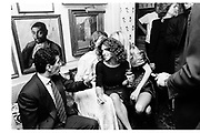 Marchioness ( Tracey ) of Worcester, and Jerry Hall talking behind Clio Goldsmith, Valentino party, Annabel's. 15 September 1987. © Copyright Photograph by Dafydd Jones 66 Stockwell Park Rd. London SW9 0DA Tel 020 7733 0108 www.dafjones.com