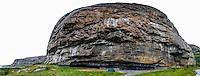 Norway, Sør-Trøndelag, Stokksund. Rock shelter on Harbak, popular among climbers.