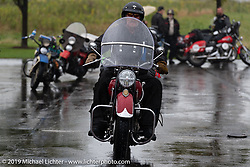 Rowdy Schenck of Carlsbad, NM riding through the rain on his 1948 Indian Chief in the Cross Country Chase motorcycle endurance run from Sault Sainte Marie, MI to Key West, FL (for vintage bikes from 1930-1948). Stage 3 from Milwaukee, WI to Urbana, IL. USA. Sunday, September 8, 2019. Photography ©2019 Michael Lichter.