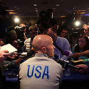 US Men's National Team player Michael Bradley talking with the media at the teams media conference at the Marriott Marquis, Times Square, New York,  USA. 30th May 2014. Photo Tim Clayton