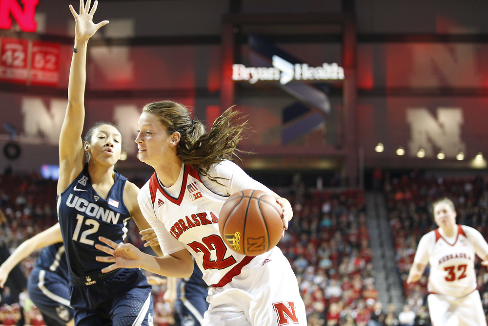 Nebraska Cornhuskers center Allie Havers #22 drives to the basket during Nebraska's 84-41 loss to No. 1-ranked UConn at Pinnacle Bank Arena in Lincoln, Neb. on Dec. 21, 2016. Photo by Aaron Babcock, Hail Varsity