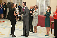 King Felipe VI of Spain awards the Spain´s Basketball team during the 2013 Sports National Awards ceremony at El Pardo palace in Madrid, Spain. December 03, 2014. (ALTERPHOTOS/Victor Blanco)