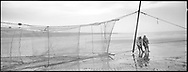 Two salmon netters lifting a new 'jumper' net into place on the sands at St. Cyrus, Aberdeenshire, after the once fortnightly change of net.<br /> Ref. Catching the Tide 07/01/06 (26th June 2001)<br /> <br /> The once-thriving Scottish salmon netting industry fell into decline in the 1970s and 1980s when the numbers of fish caught reduced due to environmental and economic reasons. In 2016, a three-year ban was imposed by the Scottish Government on the advice of scientists to try to boost dwindling stocks which anglers and conservationists blamed on netsmen.