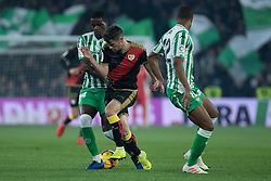 December 9, 2018 - Seville, Andalucía, Spain - Sidnei, Real Betis, and Comesaña, Rayo, fight for the ball during the LaLiga match between Real Betis and Rayo in Benito Villamarín Stadium  (Credit Image: © Javier MontañO/Pacific Press via ZUMA Wire)