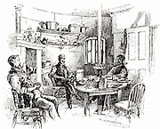 Lighthouse keepers relaxing after dinner on the Eddystone lighthouse built on the Stone 13 miles South-east of Polperro, Cornwall, England.  This is the fifth Eddystone lighthouse, designed by James Douglas, engineer to Trinity House, built between 1878 and 1892.  Engraving from 'The Strand Magazine' (London, 1892).