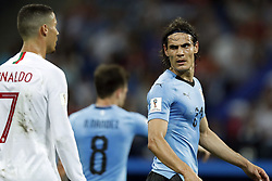 (l-r) Cristiano Ronaldo of Portugal, Edinson Cavani of Uruguay during the 2018 FIFA World Cup Russia round of 16 match between Uruguay and at the Fisht Stadium on June 30, 2018 in Sochi, Russia