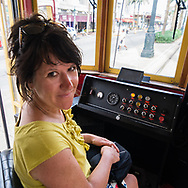Anne-Marie sitting in the tramway