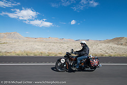Peter Reeves riding his 1929 Harley-Davidson JD during stage 11 (289 miles) of the Motorcycle Cannonball Cross-Country Endurance Run, which on this day ran from Grand Junction, CO to Springville, UT., USA. Tuesday, September 16, 2014.  Photography ©2014 Michael Lichter.