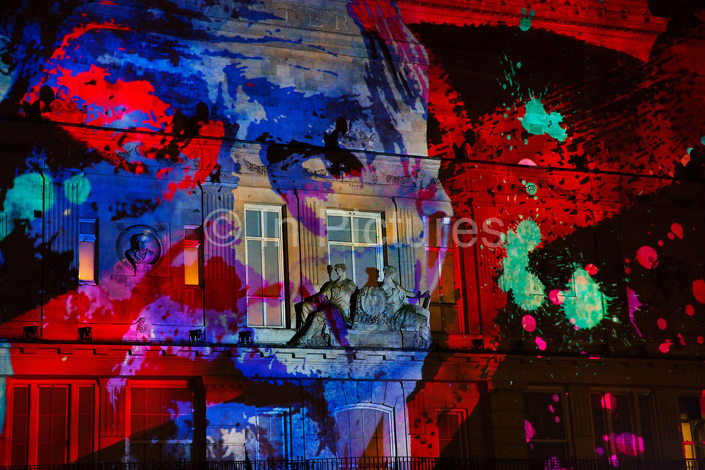 An animated projection onto the walls of 195 Piccadily (home of the Royal Society of Watercolour Painters) created by NOVAK studio explored different gendres of cinema and telivision on a freezing January night, as part of the a free London Lumiere light festival. Held over 4 days in January 2016 the event brought huge crowds into Londons centre.  The whole festival was produced by Artichoke and supported by the Mayor of London, in 30 locations across some of the capital's most iconic areas.