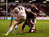 Gloucester's Louis Rees-Zammit in action during todays match<br /> <br /> Photographer Bob Bradford/CameraSport<br /> <br /> Heineken European Champions Cup Group B - Gloucester v Ulster - Saturday 19th December 2020 - Kingsholm Stadium - Gloucester<br /> <br /> World Copyright © 2020 CameraSport. All rights reserved. 43 Linden Ave. Countesthorpe. Leicester. England. LE8 5PG - Tel: +44 (0) 116 277 4147 - admin@camerasport.com - www.camerasport.com