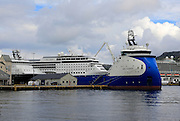 Nao Thunder supply vessel and MSC Opera cruise ship in the harbour, city of Bergen, Norway