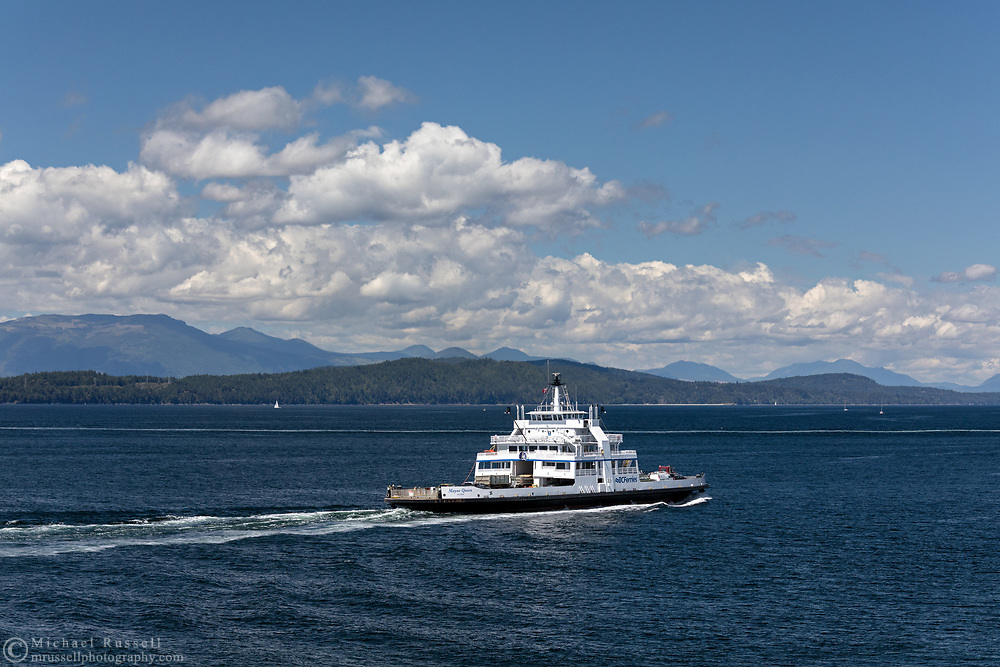 BC Ferries vessel Mayne Queen (built in 1965) leaves Village Bay on Mayne Island, British Columbia, Canada.