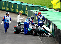 November 11, 2017 - Brazil - SAO PAULO, SP - 11.11.2017: QUALIFYING PARA GP F1 - In the photo the driver, Lewis Hamilton, team MERCEDES-BENZ, suffers an accident, during free practice this morning. Classifying training day on Saturday (11), for the Brazilian Formula 1 Grand Prix, which will take place on Sunday (12) at the Jose Carlos Pace racetrack in Interlagos. (Credit Image: © Fotoarena via ZUMA Press)