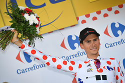 July 11, 2017 - Bergerac, FRANCE - French Warren Barguil of Team Sunweb wearing the polka-dot jersey for the best climber celebrates on the stage podium after the tenth stage of the 104th edition of the Tour de France cycling race, 178km from Perigueux to Bergerac, France, Tuesday 11 July 2017. This year's Tour de France takes place from July first to July 23rd. BELGA PHOTO DAVID STOCKMAN (Credit Image: © David Stockman/Belga via ZUMA Press)