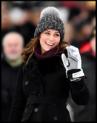 January 30, 2018 - Stockholm, Stockholm, Sweden -  Duchess of Cambridge tour to Sweden & Norway-Day One. The Duke of Cambridge accompanied by his wife Catherine, The Duchess of Cambridge, as they meet a group of local bandy players on the ice and at  Vasaparken  and learn more about the sport and its popularity in Sweden. (Credit Image: © Andrew Parsons/i-Images via ZUMA Press)