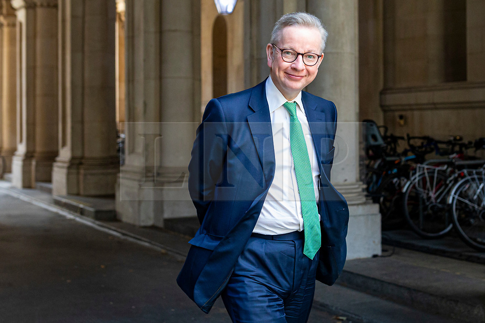 © Licensed to London News Pictures. 21/07/2020. London, UK. Chancellor of the Duchy of Lancaster Michael Gove returns to Downing Street after the Cabinet meeting. The Intelligence and Security Committee has published the long-delayed report on Russia's influence over UK politics. Photo credit: Rob Pinney/LNP