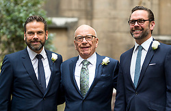 © London News Pictures. 05/03/2016. London, UK. RUPERT MURDOCH with sons ECHLIN (Left) and JAMES (right) arrive at a ceremony to mark the wedding of Rupert Murdoch and Jerry Hall held at St Brides Church on Fleet Street,  central London on February 05, 2016. . Photo credit: Ben Cawthra /LNP