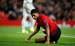 Manchester United's Marcus Rashford appears dejected during the UEFA Champions League, Group H match at Old Trafford, Manchester.