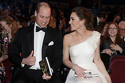 The Duke and Duchess of Cambridge attend the British Academy Film Awards (Bafta) at the Royal Albert Hall, London, to meet Bafta representatives and watch the ceremony prior to the Duke presenting the Fellowship award.