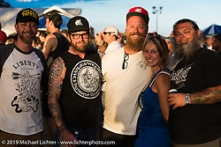 Denise and Bill Dodge with friends near the stage Saturday at the Smokeout. Rockingham, NC. USA. June 20, 2015.  Photography ©2015 Michael Lichter.