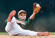 Miami infielder Brandon Lopez (51) fields the ball and attempts to toss it to Miami infielder George Iskenderian (7) in the 8th inning as the University of Miami hosts VCU Rams at Mark Light Field at Alex Rodriguez Park during the NCAA Super Regional in Coral Gables on Saturday, June 6, 2015.