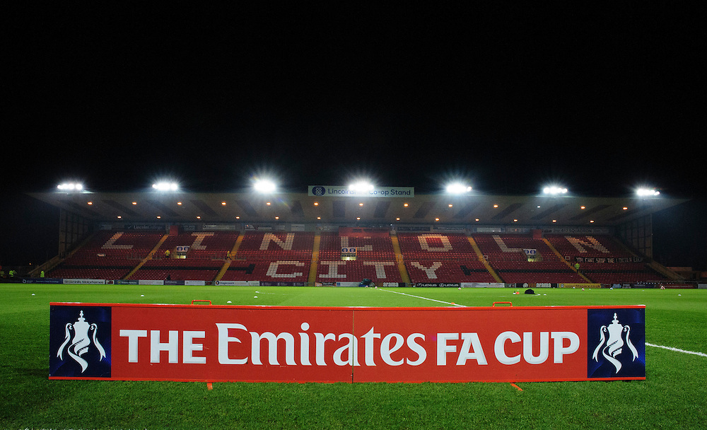 A general view of Sincil Bank, home of Lincoln City<br /> <br /> Photographer Chris Vaughan/CameraSport<br /> <br /> Emirates FA Cup Third Round Replay - Lincoln City v Ipswich Town - Tuesday 17th January 2017 - Sincil Bank - Lincoln<br />  <br /> World Copyright © 2017 CameraSport. All rights reserved. 43 Linden Ave. Countesthorpe. Leicester. England. LE8 5PG - Tel: +44 (0) 116 277 4147 - admin@camerasport.com - www.camerasport.com