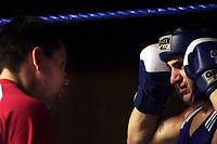 Boxing, Norway Box, Oslo  januar 2001 Jordalhallen.  Kay Tverberg, Norge (t.h.) og landslagstrener Martin Kitel.
