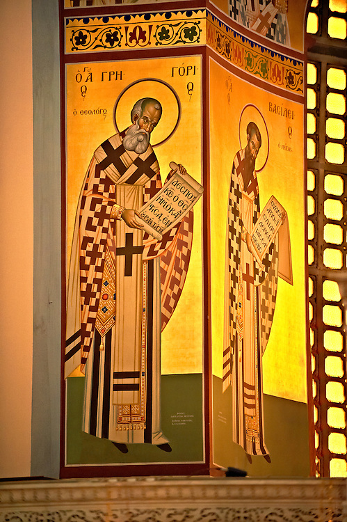 Reconstucted Byzantine style frescos of the 4th century AD 3 aisled Roamnesque basilica of Saint Demetrius, or Hagios Demetrios,  , a Palaeochristian and Byzantine Monuments of Thessaloniki, Greece. A UNESCO World Heritage Site.