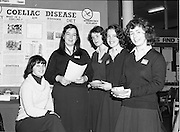 06/01/1978.01/06/1978.6th January 1978.The Aer Lingus Young Scientist of the Year Exhibition at the RDS, Dublin...L-R Mrs Collette O'Neill, (Biology teacher) Addie McCarthy, Janet Martin, Susan Reardon and Suzanne Crosby all from Scoil Mhuire, Wellington rd, Cork at their exhibit on Coeliac Disease.
