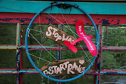 Sipson, UK. 5th June, 2018. A detail of an entertainment space is pictured at Grow Heathrow. Grow Heathrow is a squatted off-grid eco-community garden founded in 2010 on a previously derelict site close to Heathrow airport to rally support against government plans for a third runway and it has since made a significant educational and spiritual contribution to life in the Heathrow villages, which remain threatened by Heathrow airport expansion.