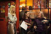 ANNA BADDELEY; FLEUR MACDONALD; LYNN BARBER, The Omnivore hosts the third Hatchet  Job of the Year Award. Sponsored by the Fish Society.  The Coach and Horses. Greek st. Soho. London. 11 February 2014.
