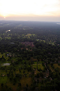 Aerial view of the East Mebon at sunset, east of Angkor Wat, Siem Reap, Cambodia.