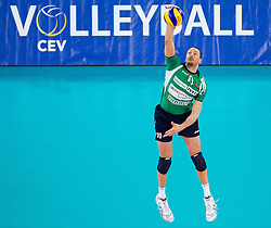 Dore Della Lunga of Cuneo during volleyball match between ACH Volley Ljubljana and Bre Banca Lannutti Cuneo (ITA) in Playoff 12 game of CEV Champions League 2012/13 on January 15, 2013 in Arena Stozice, Ljubljana, Slovenia. (Photo By Vid Ponikvar / Sportida.com)