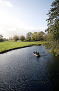 Rowing boat on River Stour, Flatford Mill, Suffolk, England
