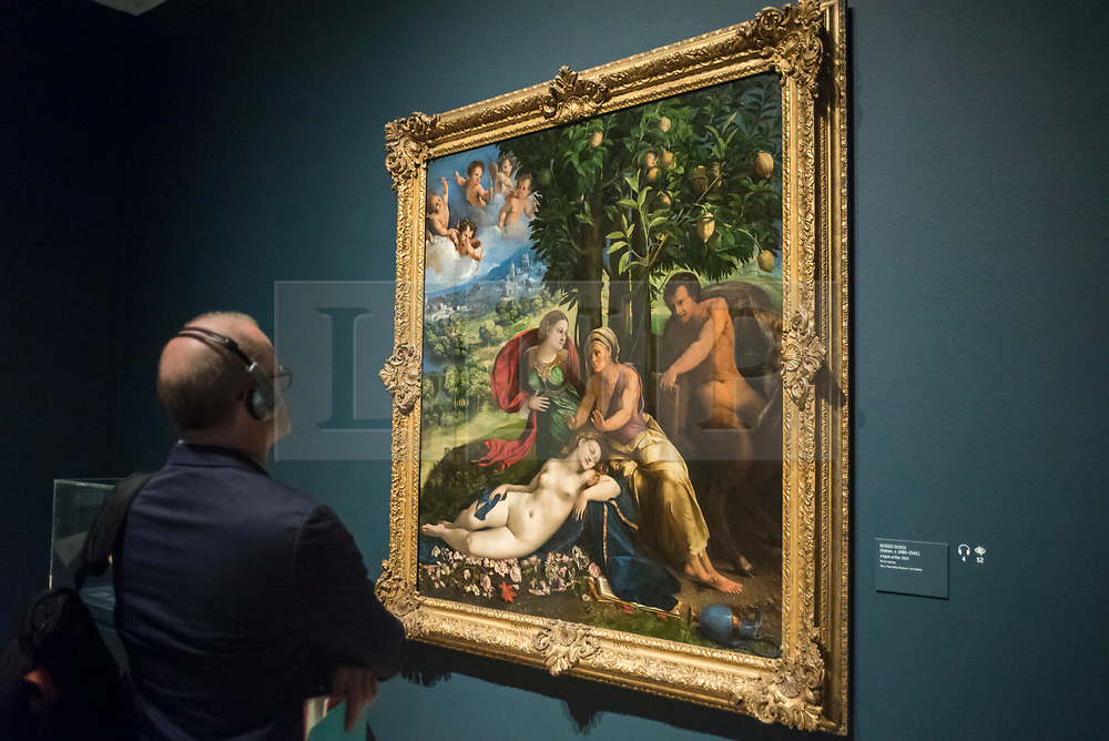 """© Licensed to London News Pictures. 28/02/2019. LONDON, UK. A visitor views """"A Myth of Pan"""", 1524 by Dosso Dossi. Preview of """"The Renaissance Nude"""", an exhibition at the Royal Academy of Arts in Piccadilly of 90 works examining the emergence of the nude in European art.  Works by artists including Leonardo da Vinci to Michelangelo are on display in the Sackler Galleries 3 March to 2 June 2019.  Photo credit: Stephen Chung/LNP"""