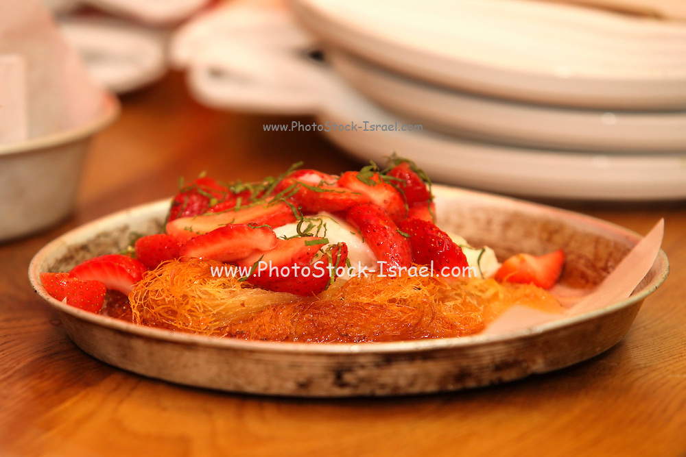 Kadaif (also Kadayif) pastry with strawberries and cream