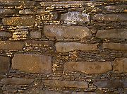 Masonry on nearly 500-foot-long rear wall of Chetro Ketl Pueblo, more than 900 years old, Chaco Culture National Historical Park, New Mexico.