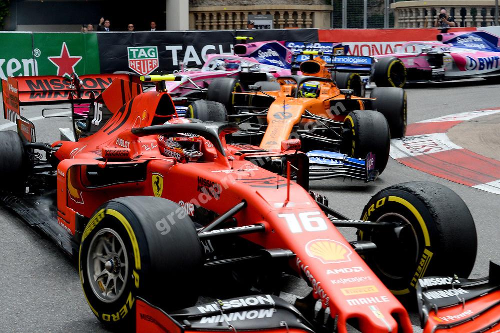 Charles Leclerc (Ferrari) leading LAndo Norris (McLaren-Mercedes), Lance Stroll and Sergio Perez (both Racing Point-Mercedes) during the 2019 Monaco Grand Prix. Photo: Grand Prix Photo