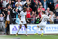 Tammy Abraham of Swansea city (l) celebrates with Roque Mesa of Swansea after he scores his teams 1st goal to make it 1-1. Premier league match, Swansea city v Watford at the Liberty Stadium in Swansea, South Wales on Saturday 23rd September 2017.<br /> pic by  Andrew Orchard, Andrew Orchard sports photography.